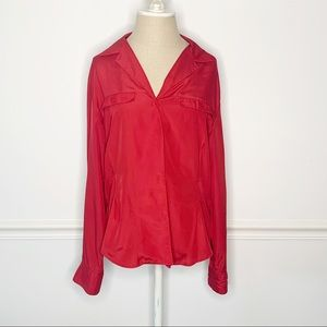 Christian Dior Vintage Red Button Up Chemise Shirt